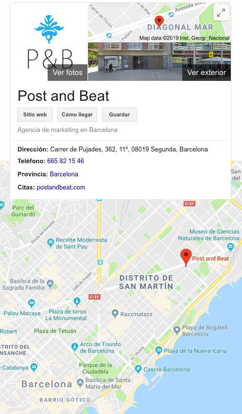 Ficha en Google my business hecha por Post and Beat